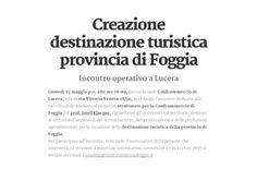 Lucera (FG), Incontro per attività relative alla creazione della destinazione turistica provincia di Foggia
