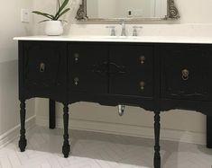 Bathroom Vanity-Single Vanity-or-Double Vanity Custom Replica   Etsy Staining Cabinets, Storage Cabinets, Vanity Cabinet, Vanity Sink, Shabby Chic Furniture, Antique Furniture, Painted Furniture, Rustic Bathroom Vanities, Dyi Bathroom