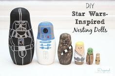 Inexpensive Star Wars DIY gift to make for the holidays. My little boys will be so excited about their nesting dolls.