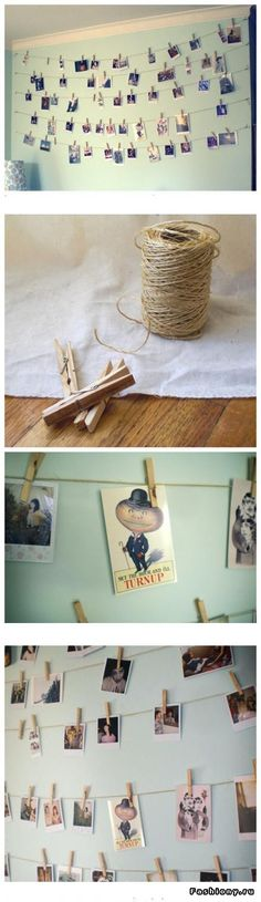 This is the closest picture I could find to what I was thinking...We bring tons of twine and string it all around the room (like vines) and then use clothespins to attach pictures, maybe artwork, and a few notecards that have funny things our kids say written on them or something?  Maybe we can find some green leaves or monkeys to hang from the rope too?