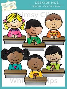 This fun set of clip art features kids at desktops. You could use these cuties at the top of worksheets, classroom posters and more. The desktop kids clip art set contains 12 image files, which includes 6 color images and 6 black & white images in png. All images are 300dpi for better scaling and printing.