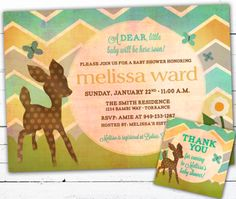 @Afton Dixon - Adorbs!!  Gender Neutral Baby Shower Invitation With Matching Gift tags- A Dear Deer and Chevron. $20.00, via Etsy.