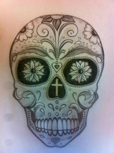 My own sugar Skull tattoo design. First time drawing my own tattoo idea. What do you think? Time to give up the day job? :)