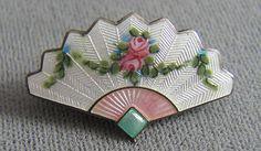 Art Nouveau Sterling Silver Enamel Fan Pin.