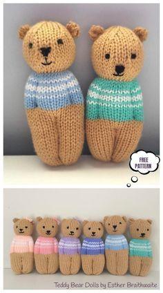 Teddy Bear Patterns Free, Knitting Dolls Free Patterns, Knitted Dolls Free, Teddy Bear Knitting Pattern, Knitted Teddy Bear, Knitting Machine Patterns, Christmas Knitting Patterns, Free Knitting, Teddy Bears