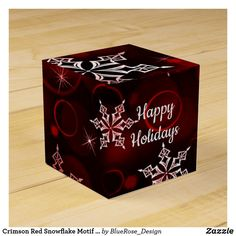 Crimson Red Snowflake Motif Cube Favor Box Christmas Favors, Vinyl Lettering, Favor Boxes, Party Printables, Holiday Parties, Happy Holidays, Wedding Favors, Snowflakes, Card Stock
