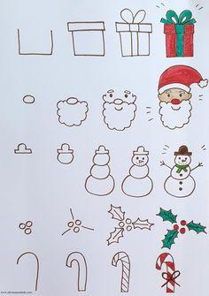 Cute Easy Drawings, Art Drawings For Kids, Art Drawings Sketches Simple, Doodle Drawings, Drawing For Kids, Art For Kids, Easy Christmas Drawings, Christmas Doodles, Kids Christmas