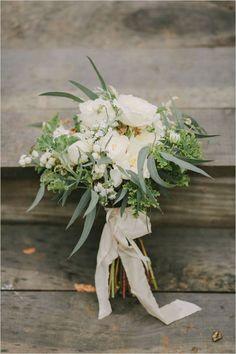 Organic White rose and eucalyptus and herbs wedding bouquet #cedarwoodweddings | Cedarwood Weddings