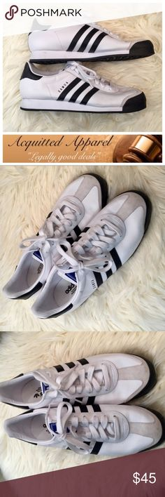 [Adidas] Samoa Black And White Sneakers Mens Addidas White and black stripe Samoa Leather Low Sneakers size 13 like new. . adidas Shoes Sneakers