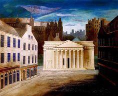 """""""The Royal Scottish Academy, Princes Street, 1829"""" by Ed Kluz (paper collage and mixed media)"""