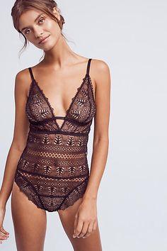 Else Ivy Decollete Bodysuit - anthropologie.com | dark black bodysuit | lingerie
