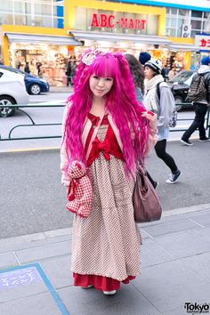 Cute Asian girl with wavy pink hair spotted outside ABC Mart in Japan.