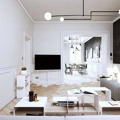 Modern attic apartment in black & white in Prague