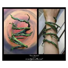Tree-branch bracelet = this would be great for a Poison Ivy costume! Make this bracelet with wire and very thin birch bark hardened with a textile hardener liquid material; paint with acrylic colors. Cosplay Tutorial, Cosplay Diy, Halloween Cosplay, Halloween Makeup, Halloween Costumes, Viking Cosplay, Couple Halloween, Poison Ivy Cosplay, Poison Ivy Costumes