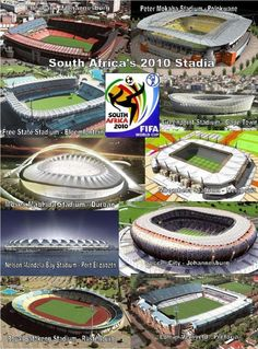 South Africa is hosting the 2010 FIFA World Cup and the 10 stadiums selected as game venues are ready to welcome football (soccer) fans, and impress the world. Soccer City, Soccer Stadium, Football Stadiums, Football Football, Football Match, First World Cup, World Cup Final, Barack Obama, World Cup Schedule