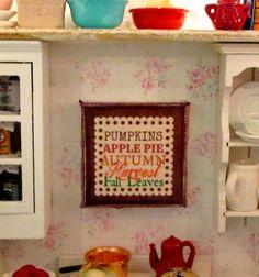 Fall  Autumn Dollhouse Miniature Sign by RibbonwoodCottage on Etsy