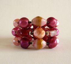 Vintage Red Glass Bead Wrap Bracelet - $25