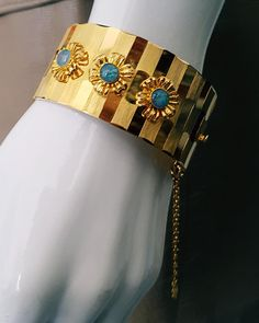 Vintage 60's Gold and Blue Opal Wide Bracelet Cuff w Chain