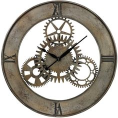 Sterling Industries Industrial Cog Wall Clock ($166) ❤ liked on Polyvore featuring home, home decor, clocks, brown, industrial home decor, gear clock, brown wall clock, sterling industries and industrial clock