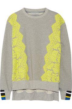 Preen by Thornton Bregazzi Gresham lace-trimmed cotton-jersey sweatshirt NET-A-PORTER.COM
