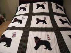 Newf Quilt. Must make. Dog Quilts, Cat Quilt, Beautiful Dogs, Big And Beautiful, Rip Love, Newfoundland Dogs, Patchwork Quilt Patterns, Big Dogs, Diy Projects To Try