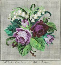 A Floral Berlin WoolWork Bouquet Of Violet Roses & Lily Of The Valley ~ Produced By A Todt In Berlin