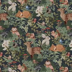 Digitally illustrated pattern repeat for Jimmy Cricket Wallpapers. Available to purchase in either Deep Teal, Dusty Blue or Charcoal here. Boat Wallpaper, Rustic Wallpaper, Cricket Wallpapers, Estilo Tropical, Water Based Stain, Designer Wallpaper, Woodland, Whimsical, Kids Room