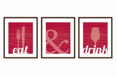Dining Room Prints Wall Art  EAT & DRINK  Fork by DaphneGraphics, $40.00
