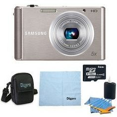 Samsung 4 GB Bundle ST76 16 MP 5X Compact Digital Camera - Silver by Samsung. $77.00. Designed to Perform, Styled to Play The Samsung ST76 Compact Digital Camera is beautifully styled yet powerful, delivering stunning images in a strikingly cool form factor. Small enough to fit into any pocket, you can easily take the ST76 anywhere - to the club, to the beach, or to a wedding ? without sacrificing quality. And with a host of features including a 16MP CCD sensor and an F2.5 25mm...
