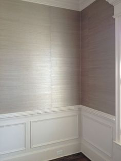 wallpaper or you could paint over rice paper for this same look if you are redoing a home. Love the texture look. and of course the wainscoting.