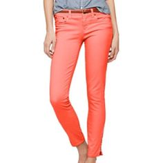 Garment-Dyed Ankle Zip Toothpick Jeans Garment Dyed Ankle Zip Toothpick Jean in bright coral, ankle length skinny jeans with a bit of stretch. Sits lower on hip with a super skinny straight leg. Size 28. J. Crew Jeans Ankle & Cropped