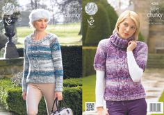 King Cole Super Chunky Pattern - Ladies Round or Polo Neck Sweater (4286) - Mill Outlets