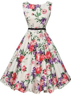 Ericdress Flower Print Round Neck Sleeveless Casual Dress