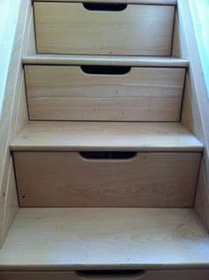 Home Organisation: Stairs doubling as drawers. If we ever live in a house with stairs, then this idea coupled with this: https://www.deriba.co.uk/DeribaWebsite/understairs/understairs-1.html