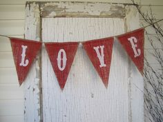 Cute!! Painted Burlap Valentines Day Banner by funky shiQue on Etsy