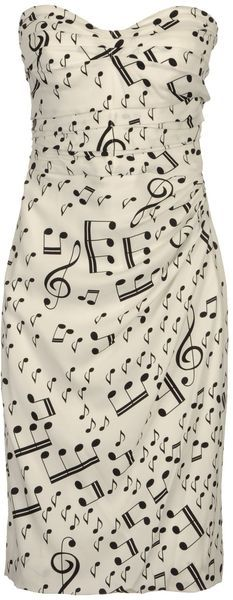 Music notes sleeveless dress by Dolce & Gabbana with pleated detailing. Sing loud!