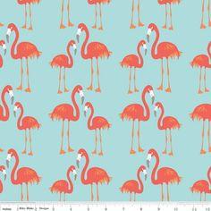 Tissu Lula Flamingo blue x 10cm