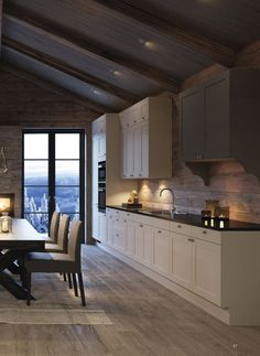 Kitchen Cabinets, Cottage, Ceiling Lights, Table, Furniture, Interiors, Design, Home Decor, Modern Kitchen Decor