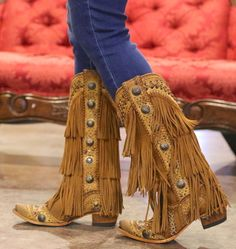 Corral Tan Multicolor Crystal Pattern and Fringe Cute Shoes Boots, Tan Boots, Fall Shoes, Boho Boots, Cowgirl Boots, Western Look, Western Wear, Walker Boots, Wedding Boots