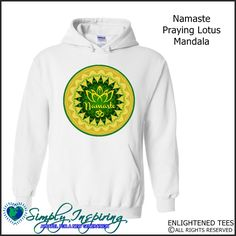 Namaste Prayin Lotus Om Mandala Enlightenment New Age Hoody Sweatshirt white