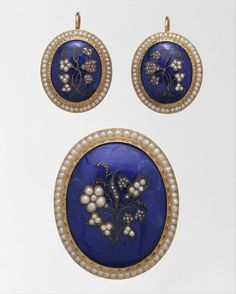 Gold, pearls, diamonds, and enamel earrings and brooch, ca. 1836-50