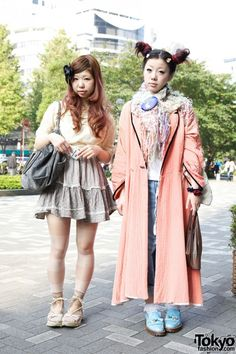 Shinjuku Girls' Hair Bow & Cult Party Skirt vs. Odango Buns & Resale Robe
