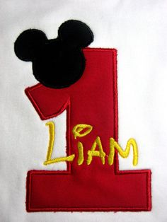 Personalized Mickey Mouse Birthday Shirt with Red by SewingByGrace, $17.00