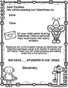 Free Valentines Day Letter  Kindergarten Students and Free