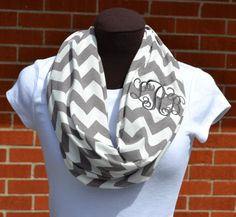 Monogrammed Chevron Infinity Scarf Gray and White Knit by byrdlegs