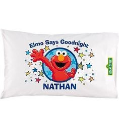 """Personalized Elmo Says Goodnight Pillowcase by Personal Creations. $14.99. A Personal Creations Exclusive! Go To Sleep With Your Favorite Character Elmo On A Pillowcase And Wake Up Smiling. We Personalize Our Standard-Size Pillowcase With Any Name, Up To 10 Characters. Made Of A Soft Cotton/Poly Blend Fabric. Machine Washable. Measures 20"""" X 31""""."""