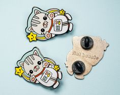 Polydactyl Space Cat enamel pin - Kawaii enamel pins - Cloisonné lapel pin