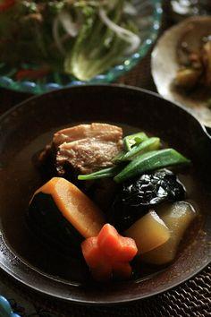 Japanese pork stew with red melon, pumpkin, carrots, nifukume, okra and eggplant