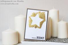 Weihnachtskarte | Christmas card | gold foil technique | Blattgold Optik | Transfertechnik | clean & simple | schlicht und edel | Stampin' Up! Winter 2015