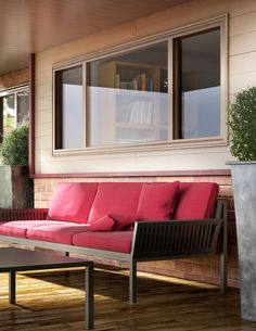 Large windows for maximum light and fresh air. Shown: Hermosa™ Series vinyl windows by Milgard. Exterior frame shown in the color Sand. 8 exterior colors to choose from.